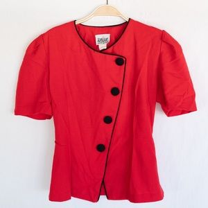 Vintage Linen Button-Up Blouse by Unique Fashion